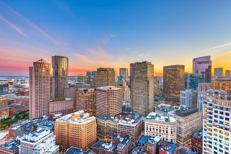 Boston, Massachusetts, USA downtown cityscape at dusk over Atlantic Avenue at dusk.