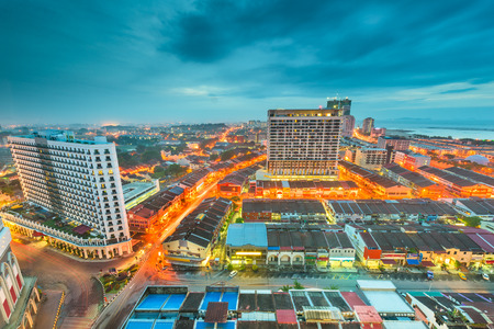 Melaka, Malaysia city skyline from above at dusk. 版權商用圖片