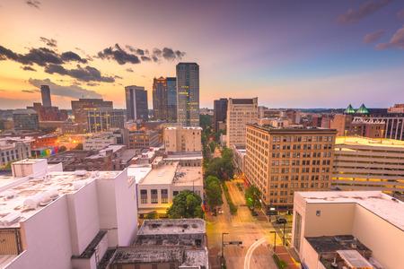Birmingham, Alabama, USA downtown city skyline at dusk. -