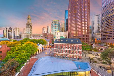 Boston, Massachusetts, USA marchés du centre-ville et paysage urbain au crépuscule. Banque d'images