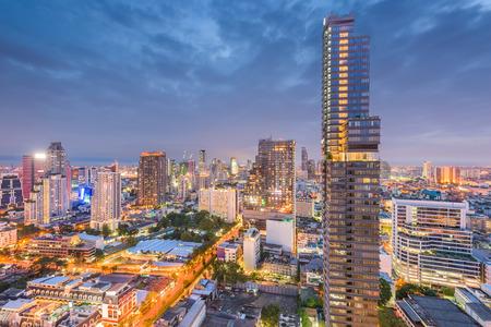 Bangkok, Thailand cityscape at night.