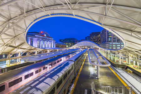DENVER, COLORADO - MARCH 13, 2019: Trains out of service at Union Station after the