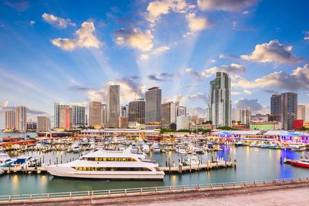 Miami, Florida, USA downtown skyline at dusk. 免版税图像