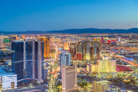 Las Vegas, Nevada, USA skyline over the strip at dusk. Stock Photo
