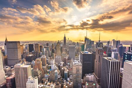 New York, New York, USA cityscape from above at dusk. Stock fotó