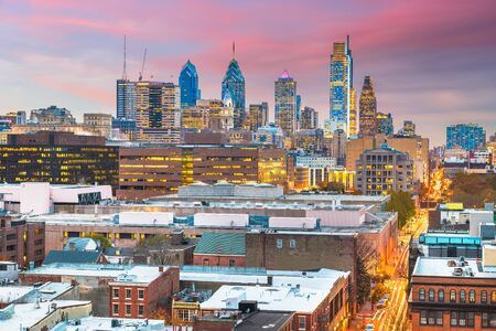Philadelphia, Pennsylvania, USA skyline over Center City at dusk. 免版税图像