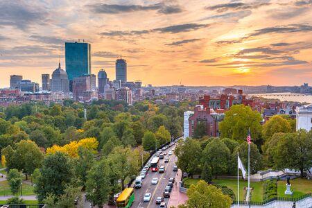 Boston, Massachusetts, USA downtown skyline over the park at dusk. Stock Photo
