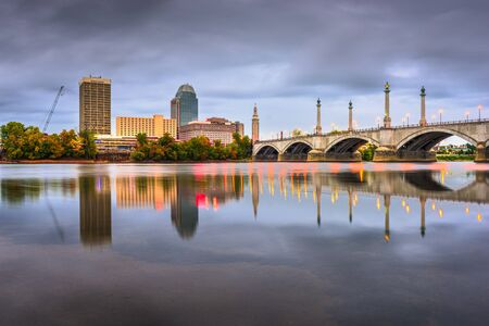 Springfield, Massachusetts, USA downtown skyline at dusk. Stock Photo