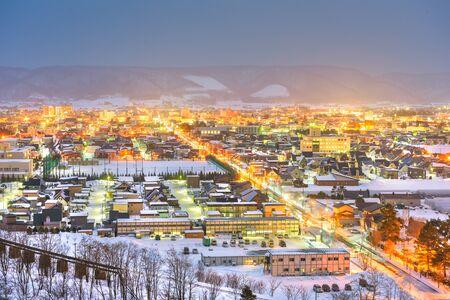 Furano, Hokkaido, Japan town skyline in winter.