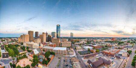 Downtown skyline of Oklahoma City, Oklahoma, USA at twilight.