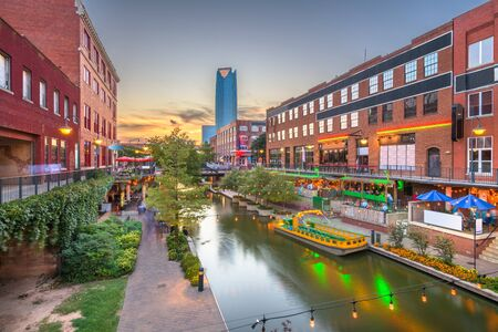 Oklahoma City, Oklahoma, USA cityscape in Bricktown at dusk. Banco de Imagens