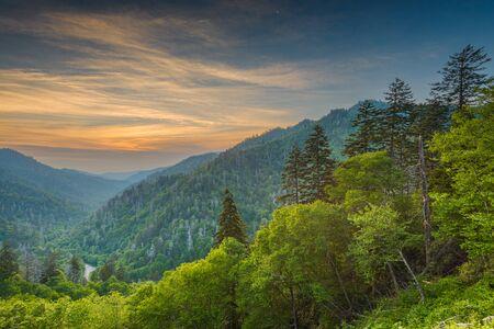 Tramonto a Newfound Gap nelle Great Smoky Mountains. Archivio Fotografico