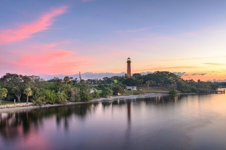 Jupiter, Florida, USA at Jupiter Inlet Light at dawn.