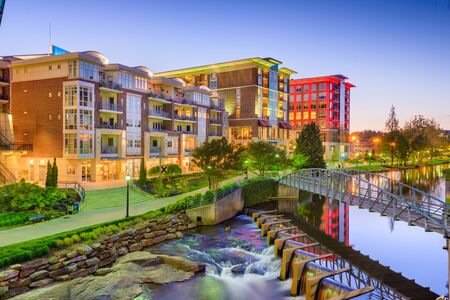 Greenville, South Carolina, USA downtown cityscape at dusk.