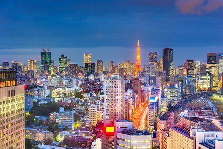 Tokyo, Japan downtown skyline view from aove the Shinagawa area at night. Stock Photo - 129698187
