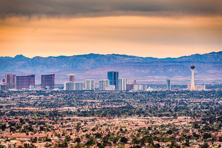 Las Vegas, Nevada, USA cityscape over neighborhoods at dusk.