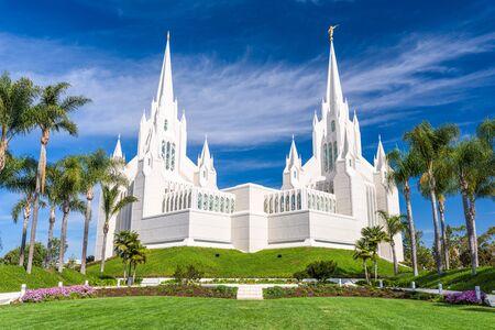 The San Diego California Mormon Temple in La Jolla, California.