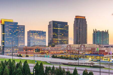 Atlanta, Georgia, USA downtown cityscape in the Atlantic Station area at dusk. 写真素材