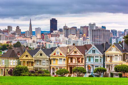 San Francisco, California, USA cityscape at Alamo Square. Фото со стока