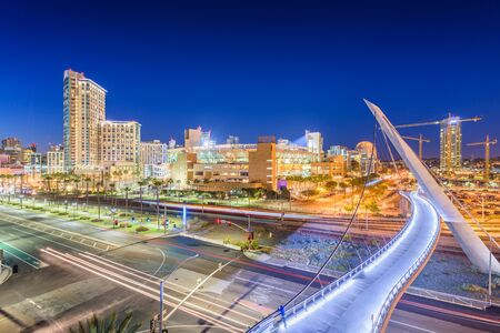 San Diego, California cityscape at night.