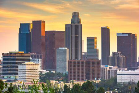 Los Angeles, California, USA downtown skyline at dusk.