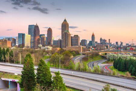 Atlanta, Georgia, USA downtown city skyline over highways at dusk. Stock Photo