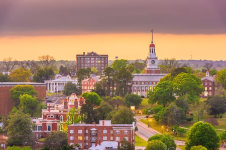 Macon, Georgia, USA historyczne centrum panoramę o zmierzchu.