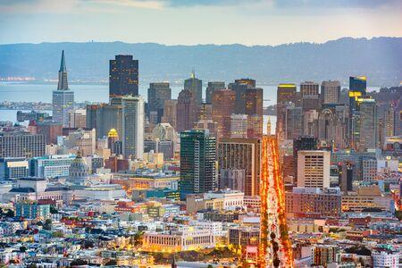 San Francisco, California, USA downtown skyline at dawn.