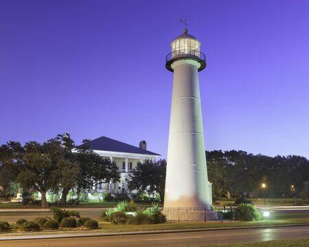 Biloxi, Mississippi, USA Light House at dusk. 版權商用圖片