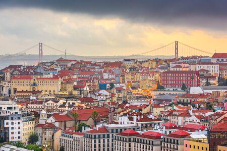 Lisbon, Portugal skyline after sunset.