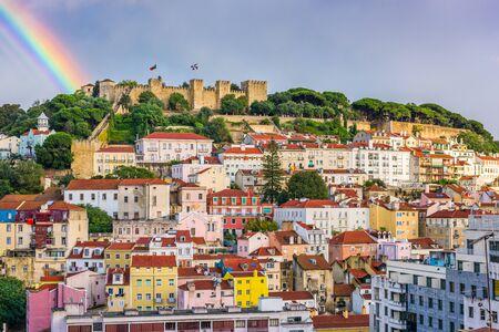 Lisbon, Portugal City Skyline towards Sao Jorge Castle in the daytime.