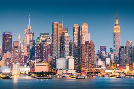 New York, New York, USA Midtown Manhattan skyline on the Hudson River at night. 写真素材