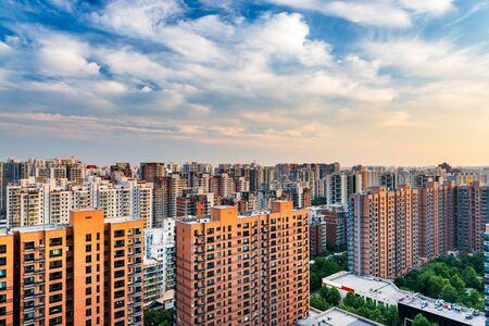 Beijing, China apartment block skyline.