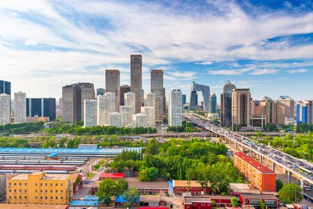 Beijing, China modern financial district skyline on a nice day with blue sky. Фото со стока