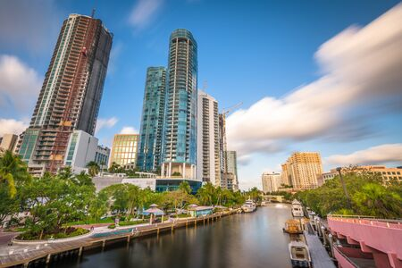 Fort Lauderdale, Florida, USA cityscape and riverwalk on the New River. Stock Photo