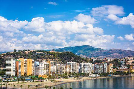 Malaga, Spain resort skyline at Malagueta Beach.