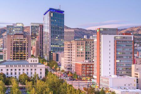 Salt Lake City, Utah, USA downtown financial district cityscape at twilight. Фото со стока