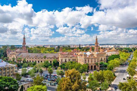 Seville, Spain cityscape with Plaza de Espana buildings. Stock Photo
