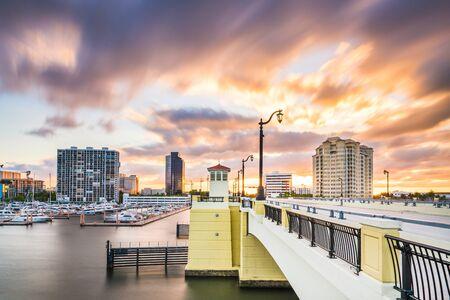 West Palm Beach, Florida, USA skyline on the Intracoastal Waterway at twilight.
