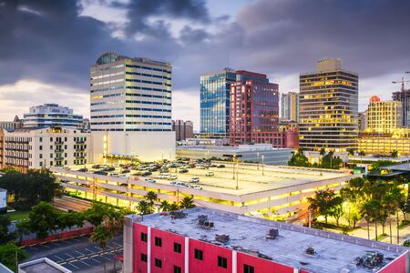 Ft. Lauderdale, Florida, USA downtown cityscape at dusk. Stock Photo