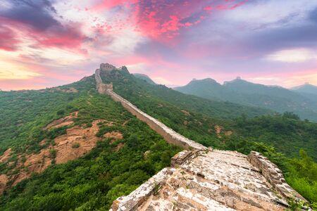 Great Wall of China at the Jinshanling section at dusk.