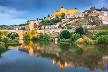 Toledo, Spain on the Tagus River at night.