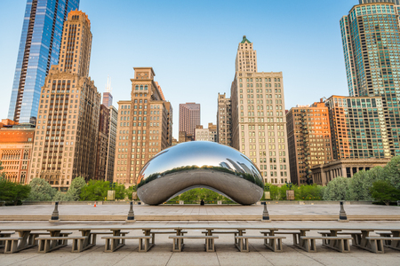 CHICAGO - ILLINOIS: MAY 10, 2018: Cloud Gate in Millennium Park in the morning.