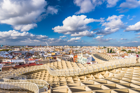SEVILLE, SPAIN - OCTOBER 7, 2014: The Metropol Parasol walkway. Located in the old quarter, the structure opened to public controversy in 2011.