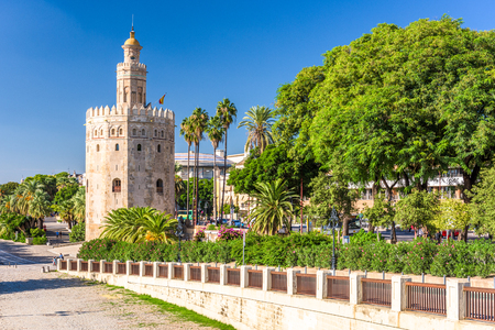 Torre del Oro in Seville, Spain. Редакционное