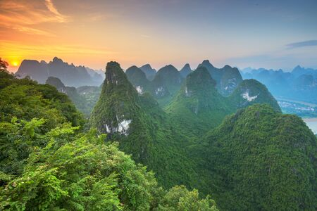 Karst Mountains of Xingping, Guilin, China.Karst Mountains of Xingping, Guilin, China at dawn.