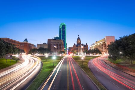 Dallas, Texas, USA skyline over Dealey Plaza at twilight.