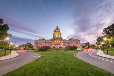 Idaho State Capitol building at dawn in Boise, Idaho, USA.