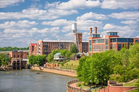 Columbus, Georgia, USA downtown skyline on the river.