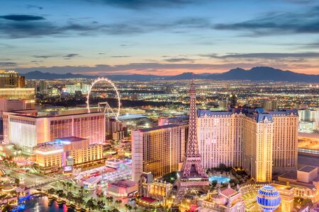 Las Vegas, Nevada, USA skyline over the strip at dusk. Stock Photo